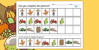 Harvest Complete The Pattern Worksheet - autumn, season, patterns