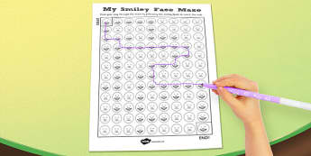 Visual Perception Smiley Face Maze Activity Sheet - visual, smiley, face, maze, worksheet