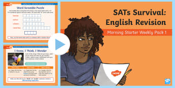 SATs Survival: Year 6 English Revision Morning Starter Weekly PowerPoint Pack 1 - SATs Survival Materials Year 6, SATs, assessment, 2017, English, SPaG, GPS, grammar, punctuation, sp