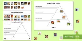 Workstation Pack: Healthy Eating Pyramid Activity - TEACCH, workstation, healthy eating, food pyramid, autism, ASD, ASDAN,