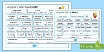 Sports Vocabulary Word Mat - Spanish, Vocabulary,free time, sports, word, mat.