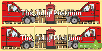 Display Banner to Support Teaching on The Jolly Postman - blue, postman, jolly, letter, Janet Ahlberg, Cinderella, story, display, banner, poster, sign, story book, book resources, Three Bears, wolf, gian, goldilocks, postcard, witch, palace