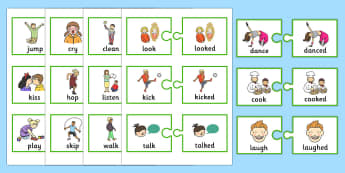 Regular Past Tense Verb Jigsaws - SLI, grammar, ASD,EAL, language disorder, Language delay, Word Order
