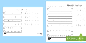 Equivalent Fractions Worksheet / Activity Sheet - Maths, Equivalent Fractions, Fractions, New Zealand