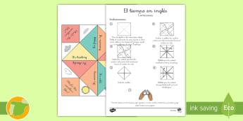 A1 Comecocos: El tiempo - Inglés - weather, lengua extranjera, inglés, english, game, ,Spanish-translation