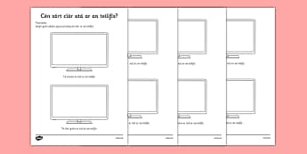 Cén sórt clár atá ar an teilifis? Television Programme Worksheet / Activity Sheet Irish Gaeilge - Gaeilge, Irish, television, T.V., programmes, worksheet / activity sheet, worksheet