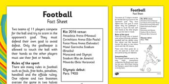 Rio 2016 Olympics Football Fact Sheet - rio, 2016, olympic, games, athletes, football, soccer sport, information, facts, research