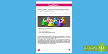 How to Use Quiet Critters Adult Guidance - behaviour, strategies, noise, quiet, volume, independent working