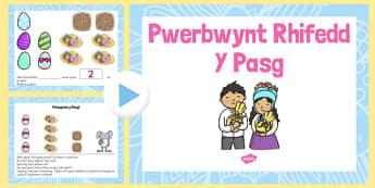 Pwerbwynt Rhifedd- Y Pasg - welsh, cymraeg, Pasg, rhifedd, Meithrin, Derbyn, Mathemateg, Ymdrin a data