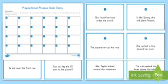 Prepositional Phrase Slide Game - Preposition, Prepositional phrase, Parts of Speech, Game, Language, English