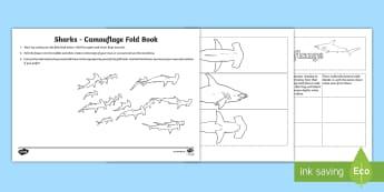 Shark Camouflage Fold Book Worksheet / Activity Sheet - Home Education Lapbooks, evolution, adaptation, habitat