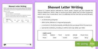 Shavuot Letter  Writing Activity Sheet - Shavuot, (30.5.17), KS2, year 3, year 4, year 5, year 6, yr 3, yr 4, yr 5, yr 6, Jewish people, Jewi