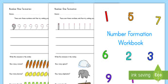 Number Formation Activity Booklet - number formation, pencil control, numbers, math