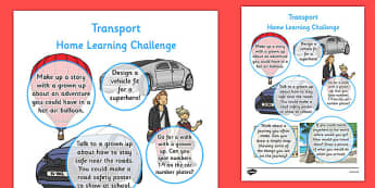 Transport Themed Home Learning Challenges Reception FS2