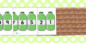 Ten Green Bottles Cut Outs - Ten Green Bottles,10 Green Bottles, cut out, nursery rhyme, rhyme, rhyming, nursery rhyme story, nursery rhymes, counting rhymes,counting backwards, subtraction, one less than,