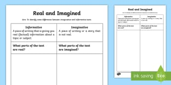 Real and Imagined Activity Sheet - worksheet, English, Literacy, Interpreting, analysing, evaluating, Content Description ACELY1648, Co