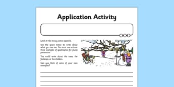 Apostrophes Application Activity Sheet - GPS, singular, plural, possession, belonging, worksheet