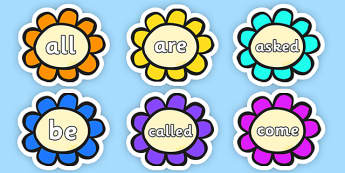 Tricky Words on Multicoloured Flowers  - Tricky Words on Multicoloured Flowers - tricky words, flowers, trciky words, ticky words, trickyword