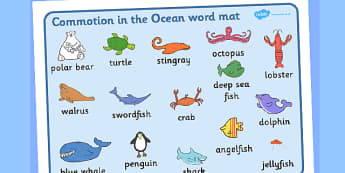 Word Mat (Images) to Support Teaching on Commotion In The Ocean - Story, book, resources, Giles Andreae, David Wojtowycz, word mat, mat, writing aid, teaching resources, book resources, sea creatures, sea, book resource