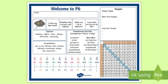 Welcome to P6 Desk Mat - Back To School, Labels, Table Prompts, Name Cards, Name And Date,Scottish