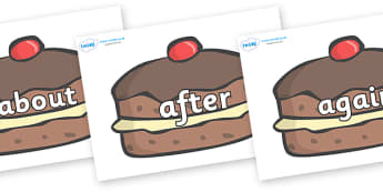 KS1 Keywords on Chocolate Buns - KS1, CLL, Communication language and literacy, Display, Key words, high frequency words, foundation stage literacy, DfES Letters and Sounds, Letters and Sounds, spelling