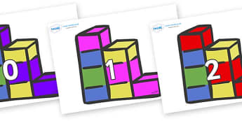 Numbers 0-100 on Building Blocks - 0-100, foundation stage numeracy, Number recognition, Number flashcards, counting, number frieze, Display numbers, number posters