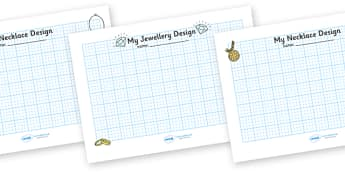 Jewellery Design Sheets - jewellery, design, sheet, designing, how to, ring, ear ring, collar, my jewellery design, working sheet, creative, creativity, activity, earring, bracelet, chain