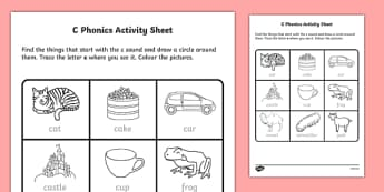 c Phonics Worksheet / Activity Sheet-Irish, worksheet