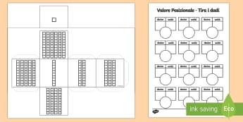 Esercizio Valore Posizionale Tira i Dadi - valore, posizionale, matematica, cifre, due, scomposizione, composizione, decine, unita, italiano, i