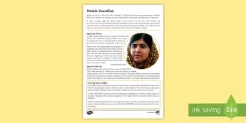 Malala Yousafzai Fact File - rights, responsibilities, legal rights, moral rights, legal responsibilities, moral responsibilities