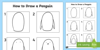 How to Draw a Penguin - How to Draw a Dog Worksheet - drawing, animals, wet play, design, aniamls, activity sheet