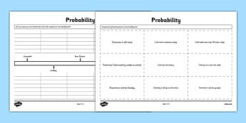 Probability Activity Sheet - Second Level, probability, chance, worksheet