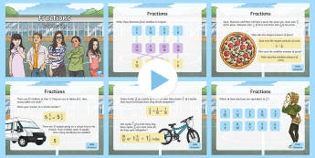 Year 5 Fractions Maths Maths Warm-Up PowerPoint - KS2 Maths warm up powerpoints, y5, year 5, Year five, fractions, ks2-maths-2014-year-5-number-fracti