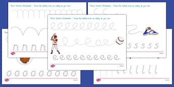 Baseball Themed Pencil Control Worksheets - usa, baseball, mlb, major league baseball, pencil control