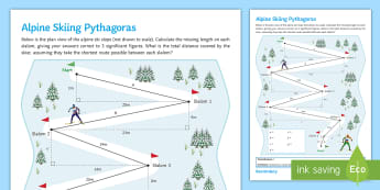 Winter Olympics Alpine Skiing Pythagoras Activity Sheet - triangle, pythagoras, winter, olympics, 2014, pyeongchang