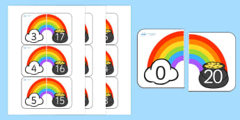 Rainbow and Pot of Gold Number Bonds to 20 - rainbow, pot of gold, number bonds, number, bonds, number bonds to 20, themed number bonds, themed numbers