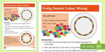 KS1 Fruity Sweets Colour Mixing Science Experiment -  challenge, question, discover, find out, change