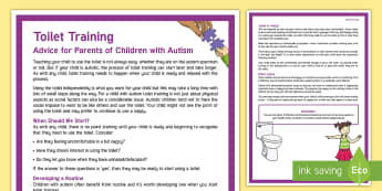 Toilet Training Autism Parent and Carer Information Sheet - KS1&KS2 World Autism Awareness Day (2nd April 2017), autism, supporting your child, advice for paren