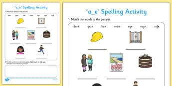 a-e Spelling Activity - ESL Spelling Activities
