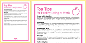 Care Staff Top Tips for Healthy Eating at Work - care staff, top tips, healthy eating at work, care, staff