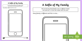 A Selfie of My Family Activity Sheet - families, LGBT, same sex couples, Mums, Dads, family, parents, worksheet