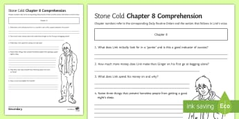 'Stone Cold' Chapter 8 Comprehension Activity Sheet - Swindells, Comprehension, Shelter, Link, Assess
