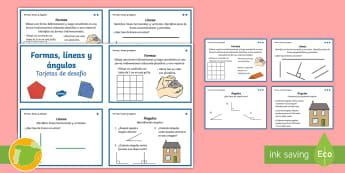 Tarjetas de desafío: Formas, líneas y ángulos - tridimensional, bidimensional, geometría, geometria, problema, problemas, resolucion, resolución,