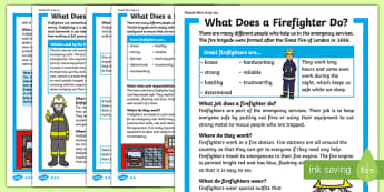 What Does A Firefighter Do? Differentiated Fact File