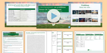 The Environment Lesson 2: Local Problems Lesson Pack French - environnement, wordsearches, wordsearch,word mat,photocards,gCSE, speaking, writing, reading, activi