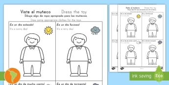 Dress the Toy Person for the Weather Drawing Activity Spanish (Latin)/US English - Dress the Toy Person for the Weather Drawing Activity - toys, waether, WHEATHER, wetaher, weaher, ki