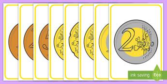 Pósters DIN A4: Euros - euros, monedas, céntimos, póster, pósters, DIN A4, exponer, exposición, decorar, decoración, mu