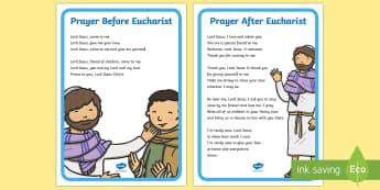 Eucharist Prayers Display Posters - Eucharist, Communion, prayer book, pupils, prayers, prayer before communion, prayer after communion,