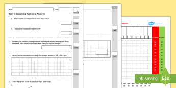 Year 4 Maths Reasoning  - Year 4, Reasoning Tests, assessment, reasoning, test