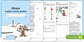 Year 2 Winter English Activity Booklet - holding activity, holiday homework, filler, Seasons, Spelling, Grammar, Punctuation, Comprehension